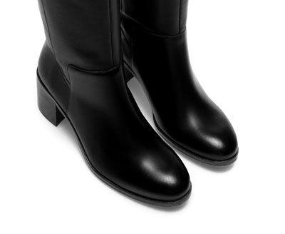 ZARA - WOMAN - HIGH HEEL HIGH-CUT LEATHER BOOTHIGH HEEL HIGH-CUT LEATHER BOOT Ref. 6055/201 Height of heel: 5 cm./ 1,97 ˝. 189.00 USD