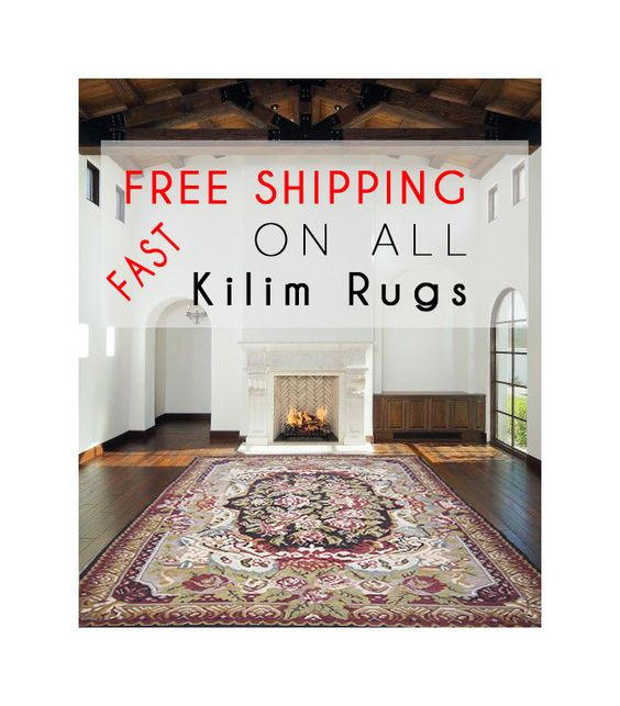Antique Rustic Decor Kilim Carpet Handmade Vintage Old Ex Chic Decor Rug Handwoven Rustic Tribal 10'3 x 7'4(feet) FAST & FREE SHIPPING by pillowcome on Etsy