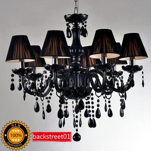 New 8 Light Black Murano Glass Crystal Chandelier Light Pendant Lamp Ceiling   eBay