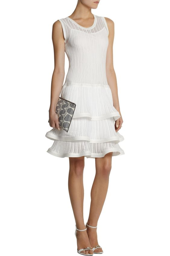 PHILOSOPHYRuffled ribbed-knit cotton dressoutfit