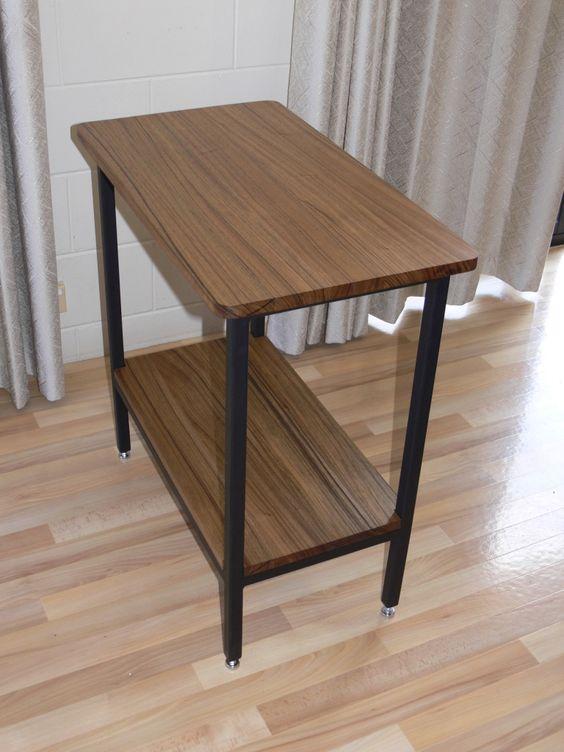 Side Table (1) made from New Guinea Walnut, Steel Frame (Custom Order for customer)