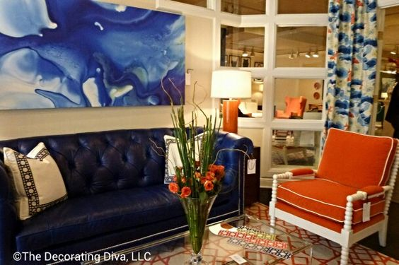 Living room furniture & decor in vivacious colors; bursting w/style at @C R Laine Furniture  - artwork by @Tracy Stewart Hiner. #hpmkt