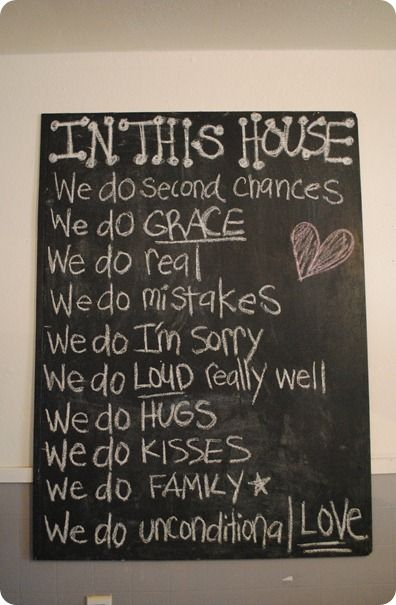 IN THIS HOUSE....write your family motto on a chalkboard for everyone to be reminded