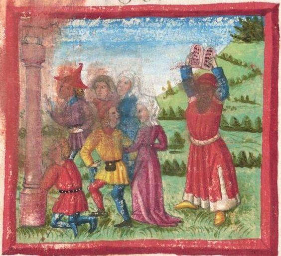 Deutsche Bibel AT, Bd. 1 (Gen. - Reg., Psalter) Furtmeyr, Berthold: Buchmalerei der Renaissance BSB Cgm 502, Regensburg,  um 1463  Folio