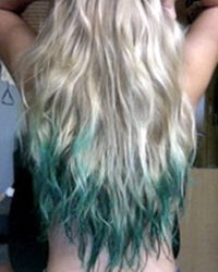 light blonde long curly hair with blue green dip dye ombre tips