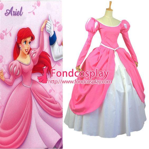 Free Shipping Disney Beautiful Pink Princess Ariel Dress Cosplay Costume…