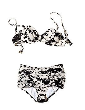 For a Tummy: Lands' End Two-Piece  An adorable nylon-blend two-piece has high-waisted bottoms to help veil the tummy, a balconette bikini top, and all the glamour of a bygone era. Also in purple/red.    To buy: Top, $55; bottoms, $50,
