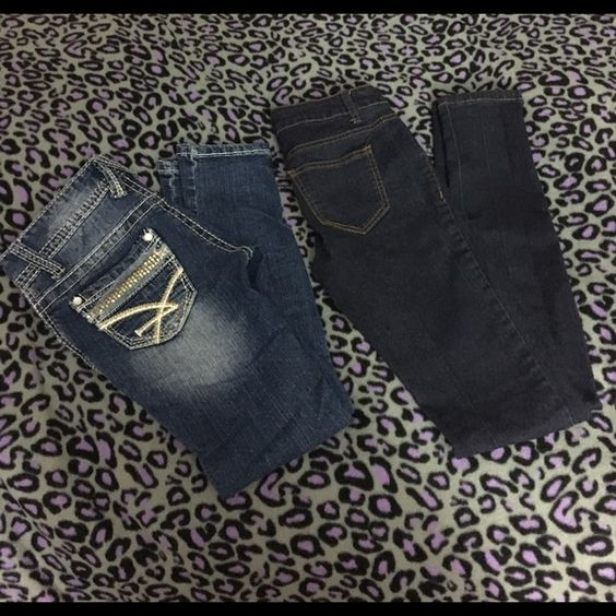 Lot of two pairs of jeans! Both pairs are a size 0 but fit like a 00. They are super skinny jeans. Amethyst pair are distressed on the front and the other pair are by the brand Wax. They are solid. Both pair are in excellent condition. Amethyst Jeans Skinny