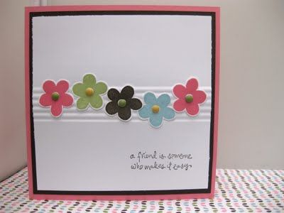 Simple card with punch flowers and nice middle embossing