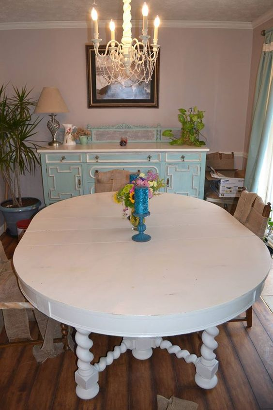 Richard Young just finished this BEAUTIFUL table. Cream for the tops and mix of cobalt blue, white, and earth green for the base. Real Milk Paint!