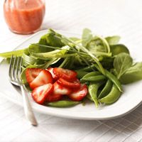 I like to add a few pine nuts to my strawberry spinach salad. I've never tried it with peas. I might try snow peas, instead. Posted on BHG. Spinach Salad with Strawberry Vinaigrette