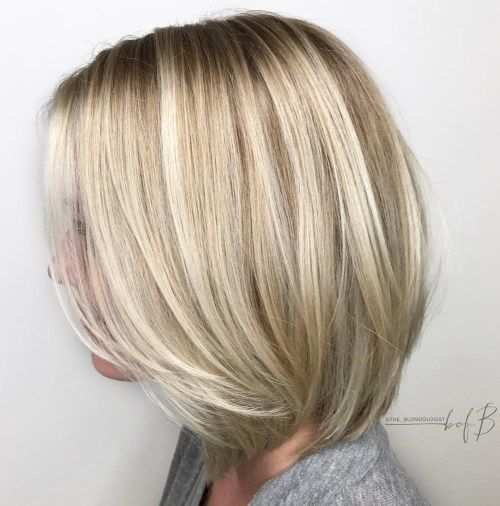 Blonde Lob With Long Layers Bob Haircut For Fine Hair Haircuts For Fine Hair Medium Bob Hairstyles