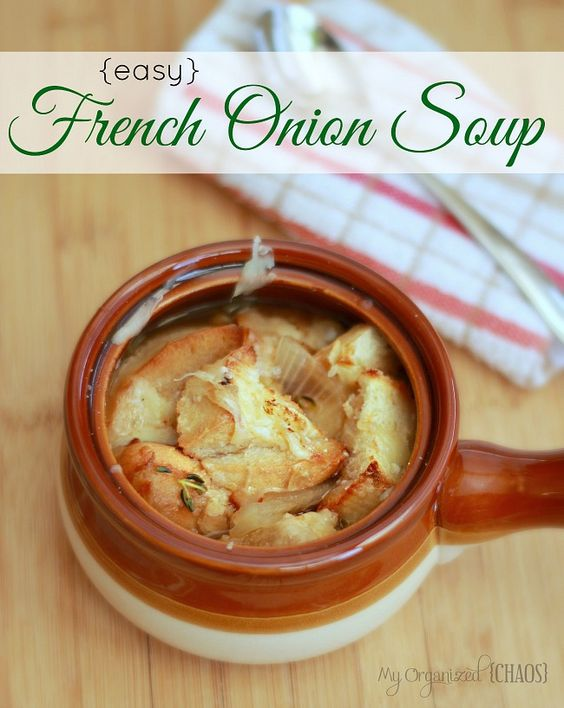 Easy French Onion Soup this turned out really yummy!!! For leftovers we just used the Swiss cheese- cheaper and just as yummy !!-Kate