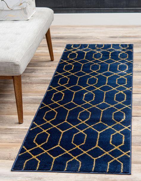 Navy Blue Gold 2 X 6 Marilyn Monroe Glam Trellis Runner Rug Area Rugs Esalerugs In 2020 Blue Gold Living Room Rug Runner Gold Rug