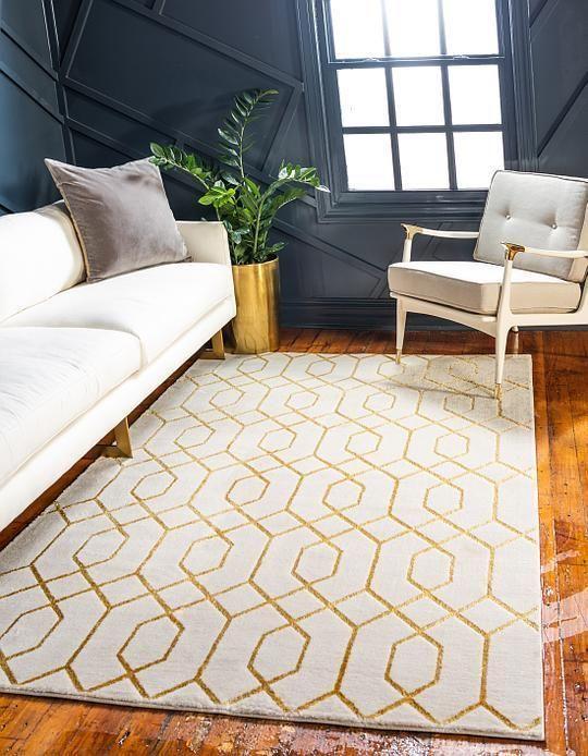 White Gold Marilyn Monroe 8482 Glam Trellis Area Rug Luxury Rug Rugs In Living Room Geometric Pattern Rug