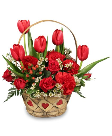 valentine's day flower arrangements | SWEET LOVE Basket Arrangement | Valentine's Day | Flower Shop Network: