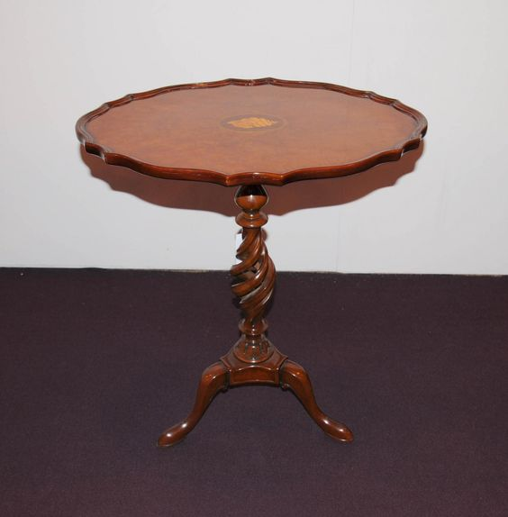 Walnut Victorian Side Table Spiral Tripod Base Cocktail Tables