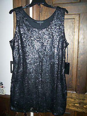 Womens SEQUIN Shimmer SLEEVELESS Tank Dress, BLACK Size 1XL NWT