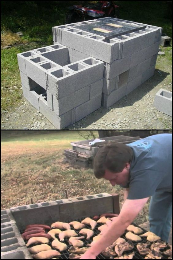 Backyard Cinder Block Smoker :  for the diy and crafts how to build outdoor parties outdoor sausages
