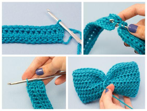 For the bow: Headband & Bow Crochet Pattern via Hopeful Honey