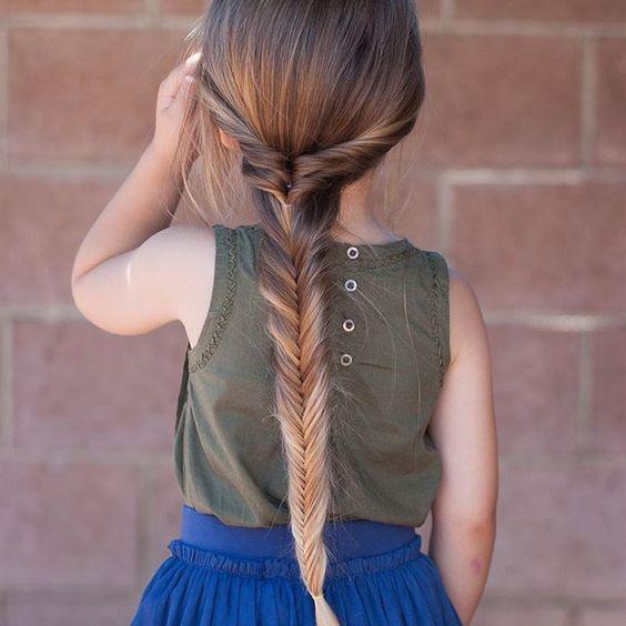 Cute Fishtail Braid On Long Hair For Girls Braids For Long Hair Kids Hairstyles Little Girl Hairstyles