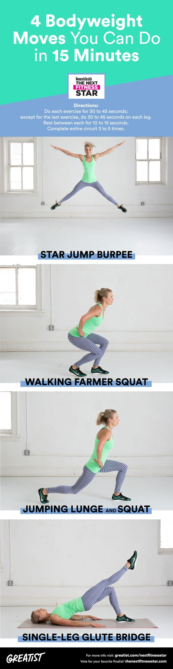 Here's how Next Fitness Star finalist Elyse Miller sneaks in a workout when she's short on time. #bodyweight #exercises http://greatist.com/move/bodyweight-exercises-15-minute-hiit-workout-for-crazy-busy-days