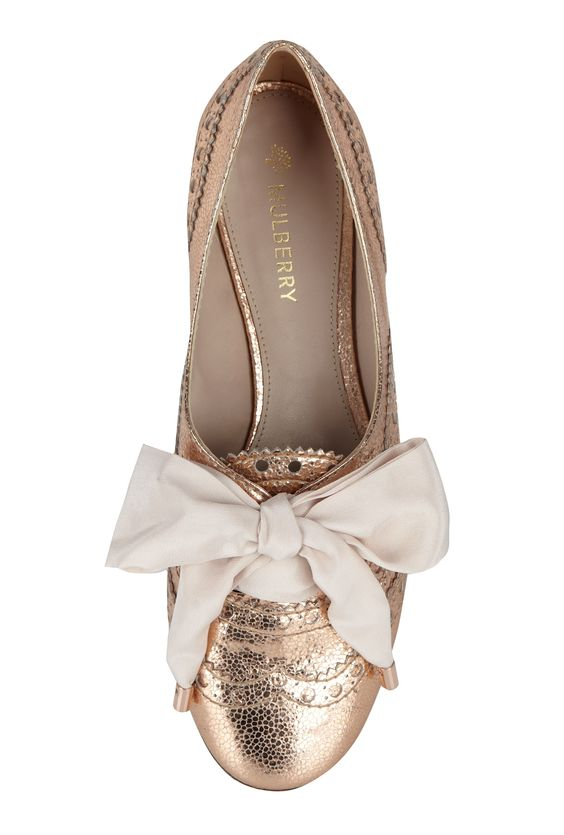 Mulberry Rose Gold Oxford Flats