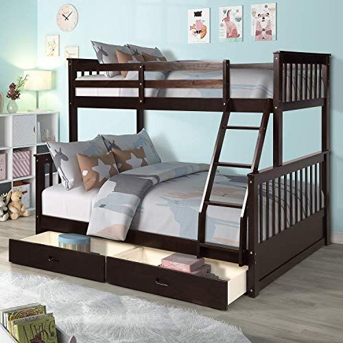 Amazing Offer On Meritline Bunk Bed Wood Twin Over Full Bunk Bed