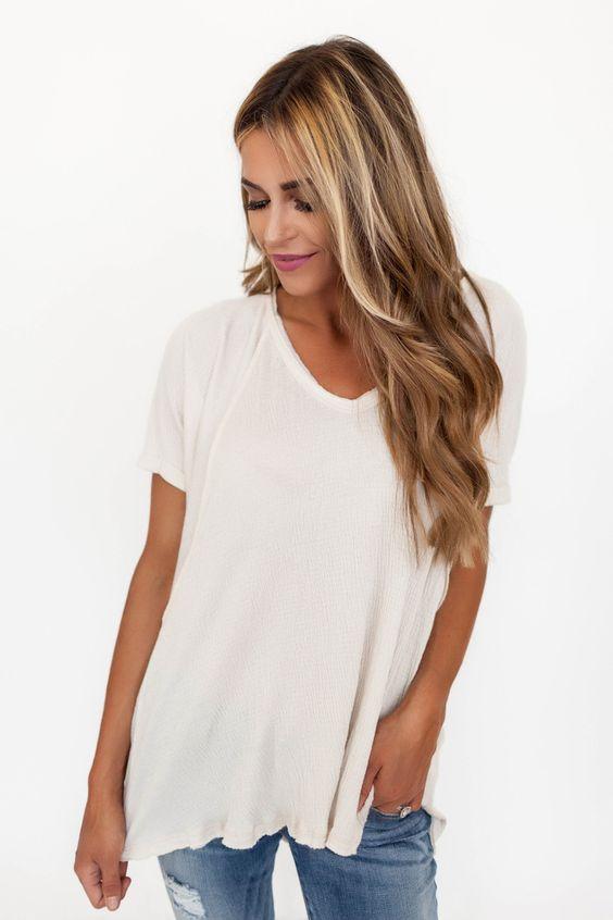 Soft Exposed Stitch V Top- Cream - Dottie Couture Boutique