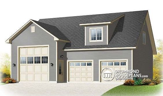 Garage plan W3986-V1 detail from DrummondHousePlans.com