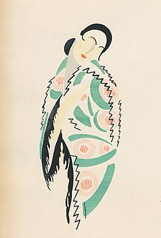 Fashion illustration by Sonia Delaunay, 1923. Also here: http://surfacepatterndesignrepeats.blogspot.co.uk/2011/12/sonia-delaunay-ukraine-18851979.html and here: http://www.wikipaintings.org/en/sonia-delaunay/fashion-illustration-1