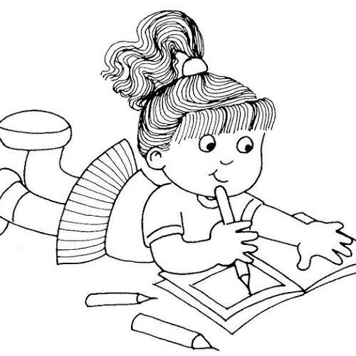 Desenho De Menina Escrevendo Para Pintar Colorir Desenho De