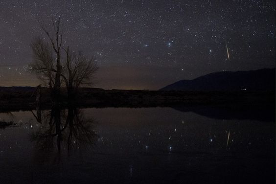 Meteor reflection Tony Rowell from Bishop, California This photographer caught a meteor in the constellation Cassiopeia the Queen, and also caught its reflection in the water below. You can see the relatively large W asterism of Cassiopeia just to the left of the meteor's streak in the sky. (Nikon D800E DSLR mounted on a Gitzo G1228 tripod, Nikkor 24mm f/2.8 lens set at f/4, ISO 3200, taken January 6, 2014, at 5:25 a.m. PST, in the Sierra Nevada Mountains of California)