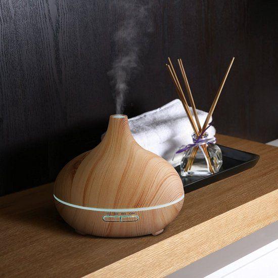 O'dor® Aroma Cool Mist Diffuser Luchtbevochtiger 300ml met EXTRA Lemongrass Olie Etherische Olie Verdamper Vernevelaar en Luchtbevochtiger  met sfeervolle LED verlichting