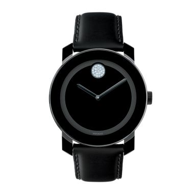 Movado BOLD Black and Clear Swarovski Crystal Watch