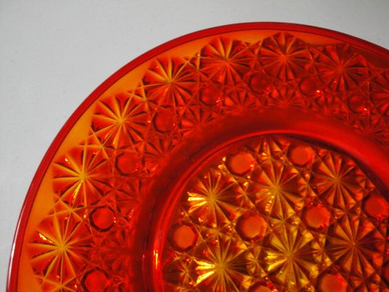 Vintage Orange Cut Glass Look Small Plate Good for Halloween or Thanksgving by BathoryZ on Etsy https://www.etsy.com/listing/245900089/vintage-orange-cut-glass-look-small