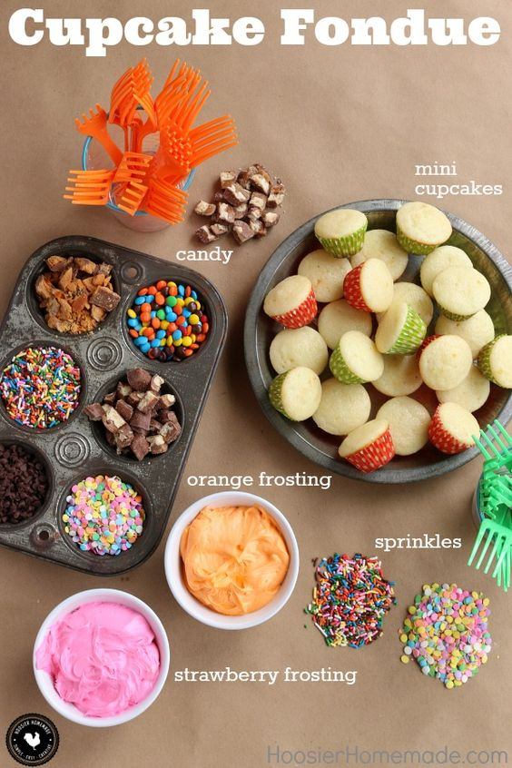 Cupcakes + Frosting + Sprinkles + Candy...you know you love it! What could be better? This Cupcake Fondue is perfect for birthdays, holidays, parties - just about any time. You can easily customize it to fit your celebration! Be sure to save it by pinning it to your Recipe Board!