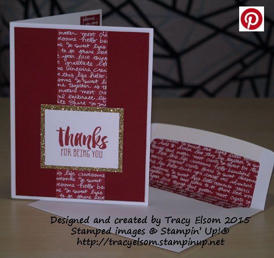 Thank you card created using the Suite Sayings Stamp Set from the Stampin' Up! 2016 Occasions Catalogue (available January 5, 2016).  http://tracyelsom.stampinup.net