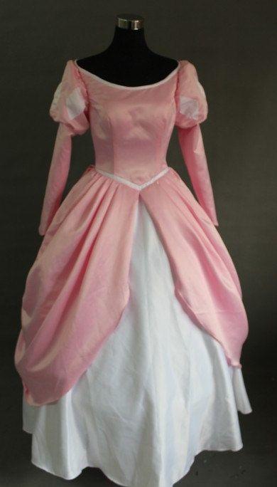 Disney Princess Mermaid Ariel Pink Dress Cosplay Made Costume Any ...