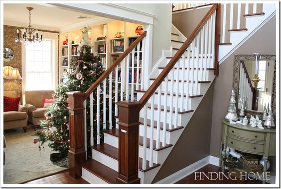 Beautiful stairway and I love the wall color.  It is  Sherwin Williams, 6102 Portobello