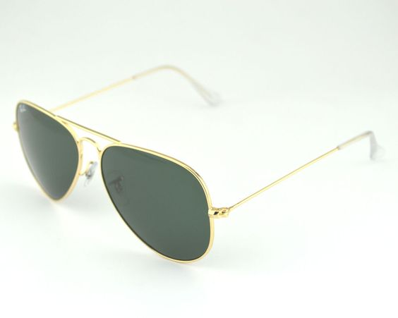 ray ban green glass golden frame  glasses · ray ban rb 3025 aviator classic l0205 gold frame/green