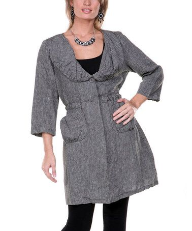 Another great find on #zulily! Black Flared Linen Jacket - Women & Plus #zulilyfinds