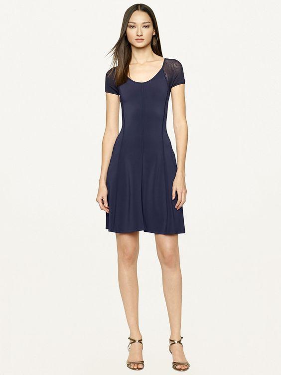 Mesh-Sleeved Jersey Dress - Short Dresses  Dresses - RalphLauren.com