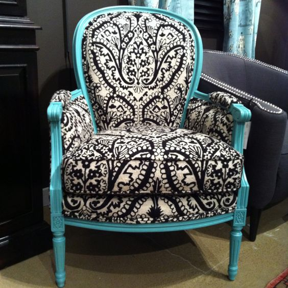 Easy to do with an old chair! Paint frame blue and check out Premier Fabrics in Germantown for very inexpensive fabric that looks similar to this. And waa-laa!