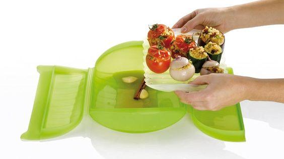 Vaporera para microondas. Mantiene los nutrientes en la carne, pescado o verduras. Cocine los alimentos en el horno o microondas. Extraíble bandeja perforada para permitir el drenaje de líquido.