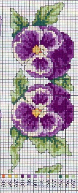 Pansies Cross x stitch PATTERN could be done in beads also: