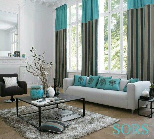 Decoracion de interiores en azul turquesa y gris for Decoracion de interiores en color gris