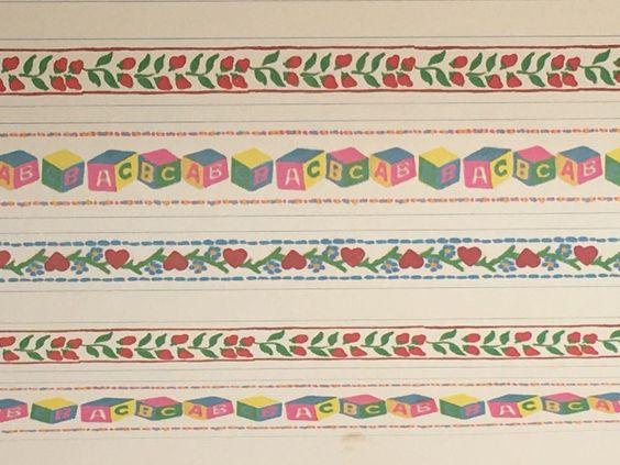 Vintage Dollhouse Wallpaper Sheet Child's Room Nursery Border Millie August 1:12…