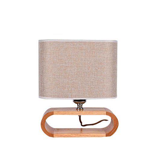 Cdet Lampade da Tavolo in Legno e Tessuto Decorativi per Soggiorno e Camera da Letto Portalampada E27 Lampadina Non Inclusa