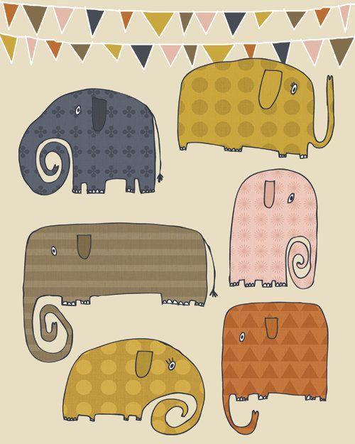 Así que esta impresión es todo acerca de los elefantes y los patrones. También voy a donar todos los ingresos de esta impresión al Santuario de